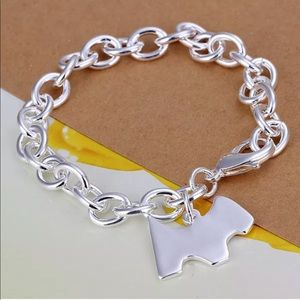 925 Sterling Silver Dog Tag Charm Bracelet